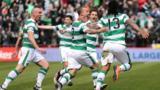 Celtic players celebrate Colin Kazim-Richards' goal
