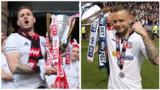 Sheffield United's Billy Sharp and Bolton Wanderers' Jay Spearing celebrate promotion to the Championship