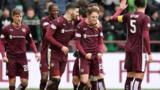 Sam Nicholson celebrates Hearts' second goal