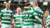 Celtic celebrate Patrick Roberts' third goal