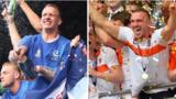 Portsmouth and Blackpool players celebrate promotion to League One