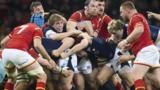 Scotland and Wales players in a maul during their Six Nations match