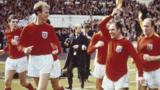 England's players celebrate with the Jules Rimet trophy at the end of the 1966 World Cup final