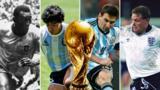 Pele, Maradona, Messi and Paul Gascoigne (left to right)