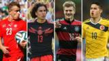 (L-R) Xherdan Shaqiri, Guillermo Ochoa, Toni Kroos, James Rodriguez