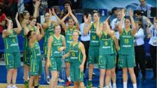 Australia's players celebrate their win against Turkey in the 2014 FIBA Women's World Championships 3rd place basketball match at Fenerbahce Ulker Sports Arena on 5 October 2014 in Istanbul