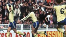 Bobby Stokes celebrates his FA Cup final winning goal in 1976