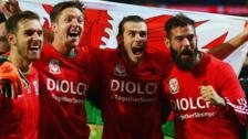 Wales celebrate Euro 2016 qualification