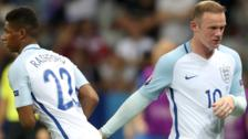 England's Wayne Rooney and Marcus Rashford