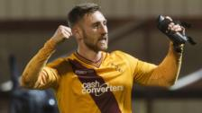 Motherwell's Louis Moult celebrates last Friday's victory over Dundee United