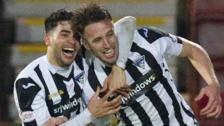 Brad McKay (right) celebrates with Dunfermline