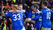 Rangers celebrate Lee Hodson's goal against Aberdeen
