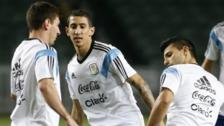 Lionel Messi, Angel Di Maria and Sergio Aguero in training