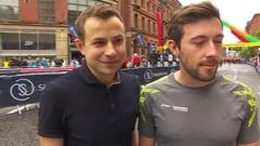 Two amateur runners who provided the defining image of this year's London Marathon meet for the first time to take part in the Great Manchester Run.