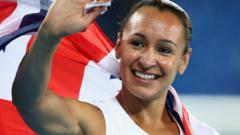 Jessica Ennis-Hill celebrates after winning heptathlon silver at the Rio Olympics