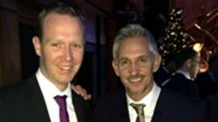 Gary Lineker (right) with 2015 South West Unsung Hero Scott Allen