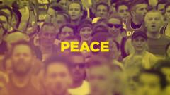 #IRunFor campaign graphic with the word 'peace'