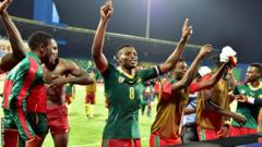 Cameroon celebrate reaching the final