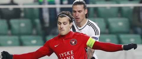 Erik Sviatchenko in Europa League action for Midtjylland