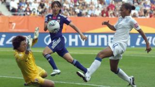 Rachel Yankey scores for England against Japan