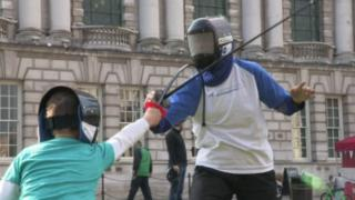 Fencing takes place at Belfast City Hall
