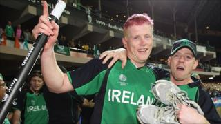 Ireland celebrate beating England at the cricket World Cup