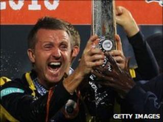 Hampshire captain Dominic Cork lifts the FP t20 trophy