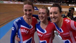 Great Britain's team pursuit team of Wendy Houvenaghel, Laura Trott and Dani King