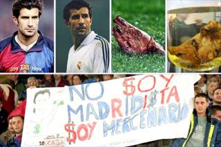 Luis Figo broke Barca fans' hearts by joining Real Madrid, and in 2002 a fan threw a pig's head at him during a game in Barcelona