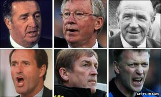 (clockwise from top left) Jock Stein, Sir Alex Ferguson, Sir Matt Busby, George Graham, Kenny Dalglish and David Moyes