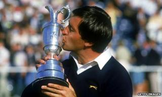 Seve Ballesteros lifts the Claret Jug