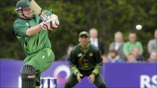 Paul Stirling smashes the ball away during his impressive century at Stormont