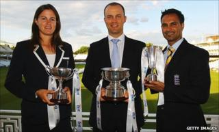 Lydia Greenway, Jonathan Trott and Umesh Valjee at Lord's with their ECB cricketer of the year awards