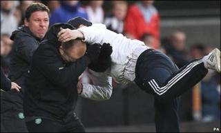 Neil Lennon was attacked during the match at Tynecastle