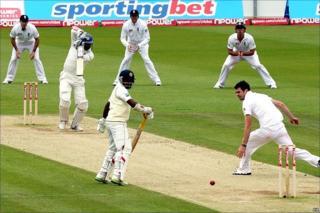 Kumar Sangakkara drives James Anderson down the ground