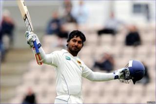 Kumar Sangakkara celebrates his hundred