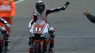 Yamaha's Ben Spies celebrates his maiden MotoGP win