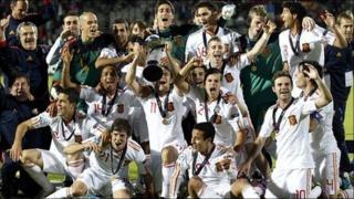 Spain celebrate winning the European Under-21 Championship