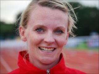 100m hurdles winner Hanna Riley