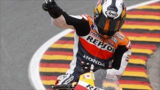 Dani Pedrosa celebrates after winning the German MotoGP