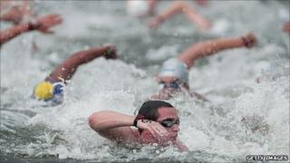 Swimmers at he Open Water event