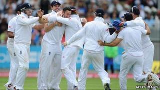 England celebrate winning the third Test