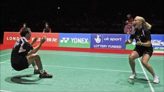 Chris Adcock and Imogen Bankier celebrate their semi-final win