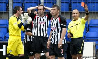 John Potter was sent off at McDiarmid Park on Saturday