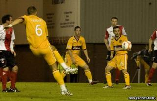 Tom Hateley scores Motherwell's third goal against Clyde