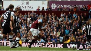 Gabriel Agbonlahor scores for Aston Villa against Newcastle