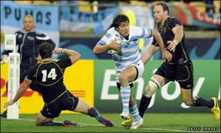Lucas Gonzalez Amorosino crosses the line