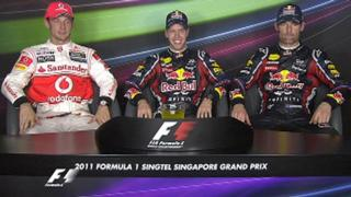 Jenson Button, Sebastian Vettel and Mark Webber