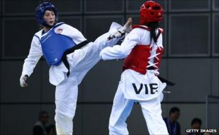 Jade Jones (left) won gold at the 2010 Youth Olympics in Singapore