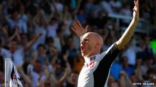 Fulham's Andrew Johnson celebrates after scoring the first of three goals against Queens Park Rangers